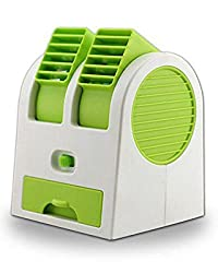 Diswa New Practic Durable 5V 2.5W Mini Small USB Cooling Fan Cooler Portable Desktop Dual Bladeless Air Conditioner USB Cooler Fan Green