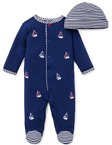 Little Me Baby-Boys Newborn Sailboats Footie and Hat, White Print, Newborn