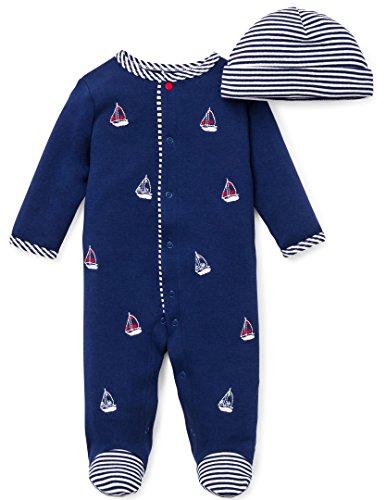 Little Me Baby-Boys Newborn Sailboats Footie and Hat, White Print, Newborn