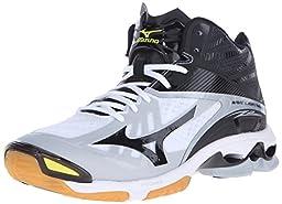 Mizuno Men\'s Wave Lightningz2 Mid Volleyball Shoe, White/Black, 7 D US