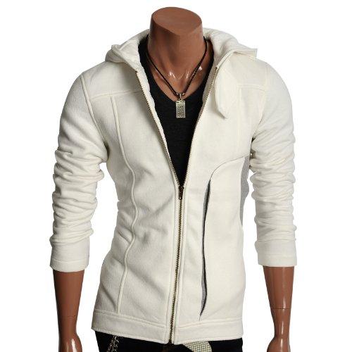 Mens Casual Zip Hoodie Jacket WHITE (AH806)