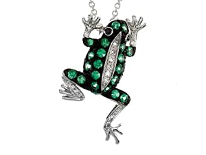 Effy Collection 14k White Gold Black Diamond Tsavorite Frog Pendant
