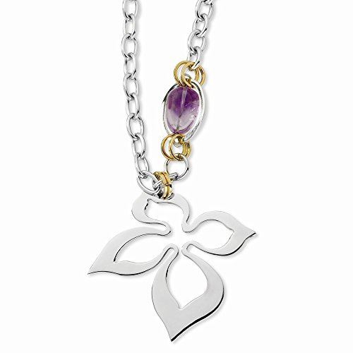 Stainless Steel Yellow Ip-Plated And Amethyst With 3.5Inch Ext Necklace