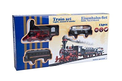Pista Treno Trenino 13 pezzi con Binari Locomotiva Vagoni con Luci Suoni e Fumo