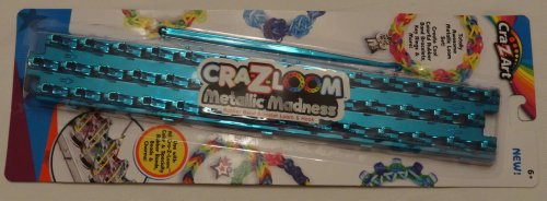 Cra-z-loom Metallic Madness - BLUE - Rubber Band Bracelet Loom & Hook
