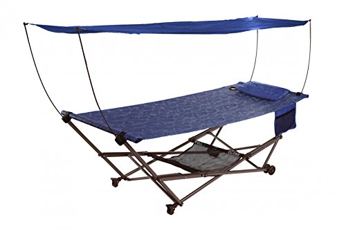 Patio Bliss STOW-EZ Portable Hammock and 4 pt. Stand w\Canopy - Blue Swirl (Casa De Camper compare prices)