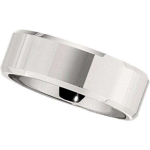 Cobalt Chrome, Satin Wedding Band with Polished Bevel (sz 12)