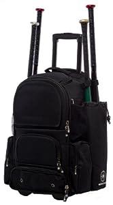 Solid Black Chita CTR M Softball Baseball Bat Equipment Roller Backpack BKBKCTRM by MAXOPS
