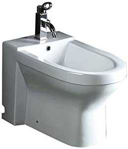EAGO JA1010 Ceramic Bathroom Bidet with Elongated Seat, White