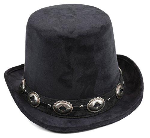Top-Hat-Concho-Suede-Rock-Star-Steampunk-Slash-Mad-Hatter-Coachman-Hat