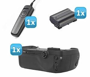 Qualitaets Multifunktions-Handgriff von Vertax fuer Nikon D7100 wie der MB-D15 mit Multi-Controller fuer Menuefuehrung + 1x EN-EL15 Nachbau-Akku + 1x Kabelfernauslöser