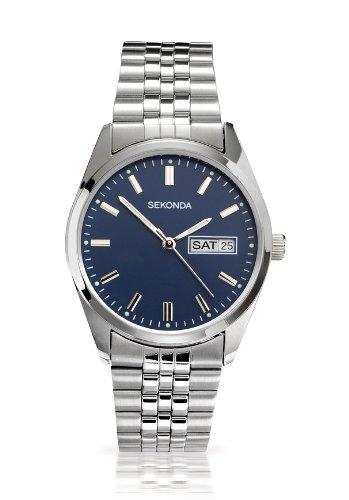 Sekonda Men's Blue Small Dial Day Date Stainless Steel Bracelet Dress Watch 3059