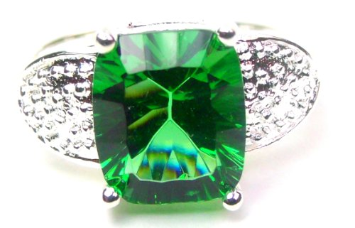 Princess Cut Green Emerald Engagement Ring, Size 8