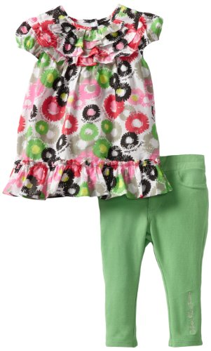 Calvin Klein Baby-girls Infant Printed Tunic with Pants, Green, 12 Months