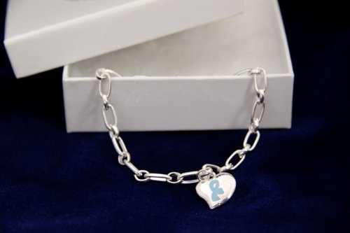Light Blue Ribbon Bracelet-Silver Linked w/ Puffed Heart Charm (Retail)