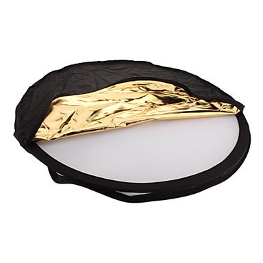 Jajay 5-In-1 Folding Round Shaped Dual Side Large Flash Reflector Board - Golden + Silver (80Cm Diameter)