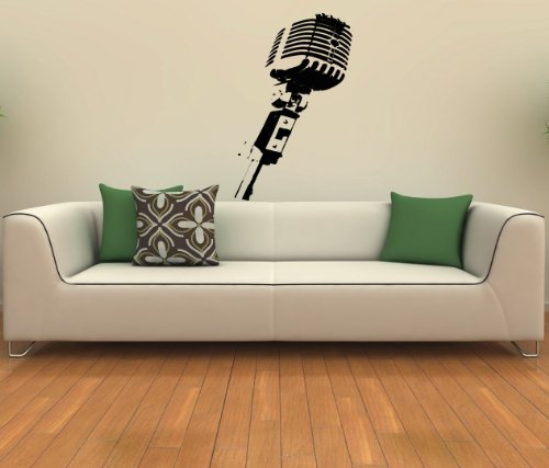 Studio Microphone Musical Decor Recording Music Studio Wall Vinyl Decal Art Sticker Home Modern Stylish Interior Decor For Any Room Smooth And Flat Surfaces Housewares Murals Design Graphic Bedroom Living Room (4072)