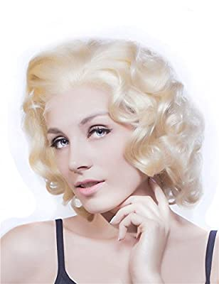 Imstyle Stunning Marilyn Monroe Blonde Short Big Curly Style Hair Synthetic Lace Front Wig