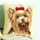 Vervaco Yorkshire Terrier Cross Stitch Cushion, Multi-Colour