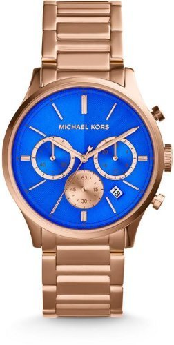 Michael Kors Chronograph Blue Dial Rose Gold-tone Mens Watch MK5911