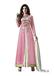 VIHA Pink Women's Embroidered Georgette Unstitched Dress Material