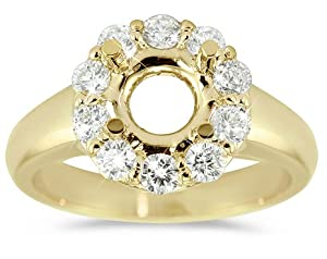 Exquisite Square Halo Pave Set Diamond Engagement Semi-Mount in 18k Yellow Gold. Size-4