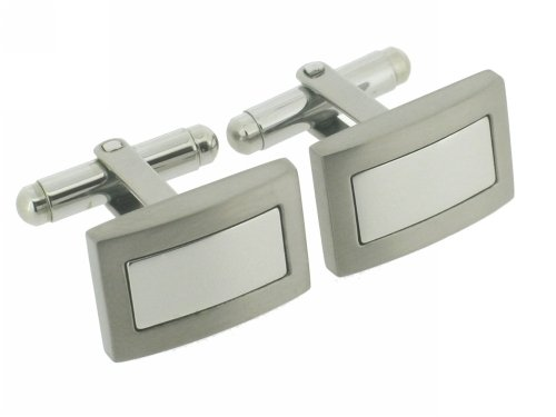 Unique Titanium & Polished Steel Cufflinks