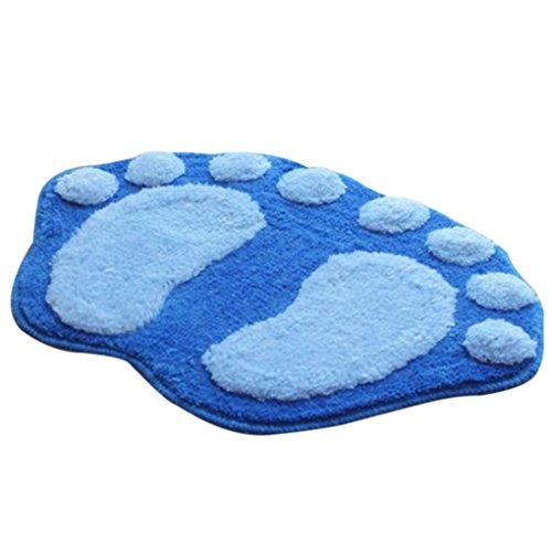 QHGstore Bagno moquette piedi grandi Floccaggio acqua assorbente antiscivolo zerbino Pad Tappeto blu