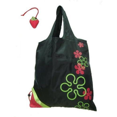 Umiwe(TM) Strawberry Folding Reusable Compact Eco Recycling Use Shopping Bag-Black With Umiwe Accessory Peeler...