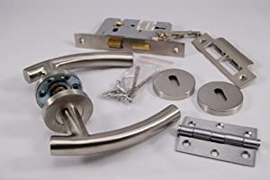 Curve T Lever Door Handle Internal 3 Lever Lockset with Hinges - Satin Stainless Steel