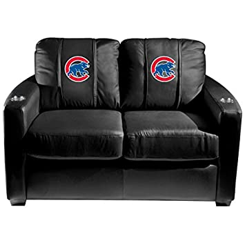 XZipit MLB Silver Loveseat with Chicago Cubs Secondary Logo Panel - Black