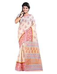 Lookslady Khadi Printed Beige & Red Cotton Saree