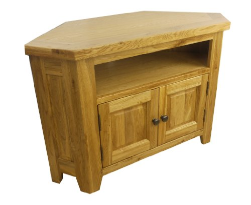 Leona Oak Corner Tv Unit DVD Video Stand Fully Assembled *solid Wood* *free Delivery*