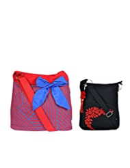 Combo Of Blue Big Bow Cross Body Sling With Black Small Sling Bag