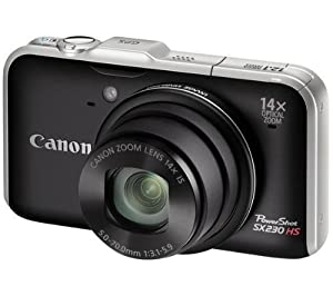 CANON SX230 HS - black Plus 8 GB SDHC Memory Card Plus NB-5L Battery Plus Compact Camera Case