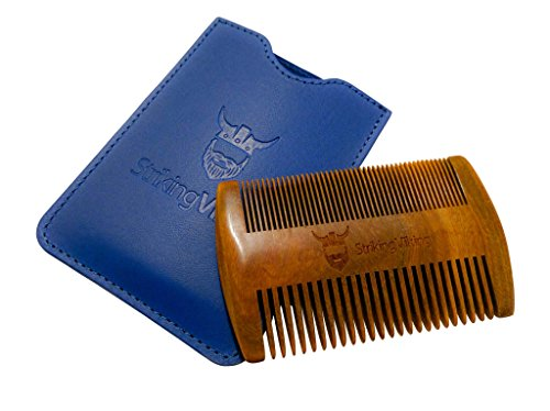 Wooden Beard Comb & Case - Fine & Coarse Teeth from Striking Viking - Anti-Static and Hypoallergenic Wood Pocket Comb