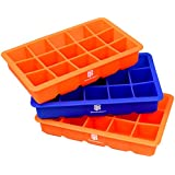 DecoBros 3 Pack Silicone Cube Ice Tray (2 Red / 1 Blue)
