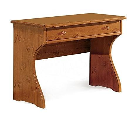Scrivania con cassetto in legno di pino-Grezzo (Non verniciato)