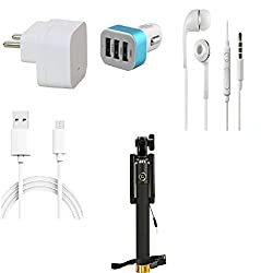 13Tech 1 Amp Charger+3 mtr Copper (Data Transfer+Charging) Cable +Universal Handsfree 3.5 mm Jack Headphones+3 Jack Car Charger+Selfie Stick (Aux) for Spice Xlife 512