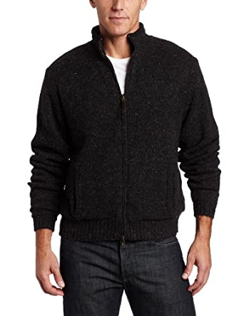 Pendleton Men's Reversible Shetland Fleece Lined Full-Zip Sweater, Black Tweed, Small