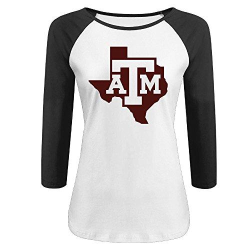 32a2415176a Hotboy19 Women s Texas A m University Raglan 3 4 Sleeve T-Shirt Black Size  XL