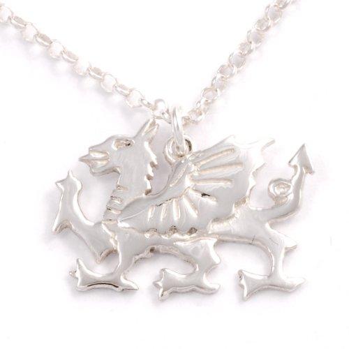 St Justin, Silver Welsh Dragon Pendant – 18 Inch Belcher Chain