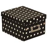 JAM Paper® Decorative Storage Box - 6 3/4 x 8 5/8 x 5 1/8 - Black & White Polka Dots - Sold Individually