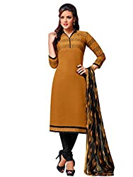 Mira Golden Colour Chanderi Embroidery Unstitched Dress Material