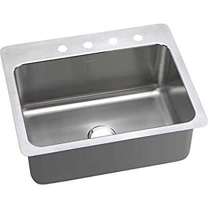 "Elkay DPSSR2722102 20 Gauge Stainless Steel 27"" x 22"" x 10"" Single Bowl Dual/Universal Mount Kitchen Sink with 2 hole"