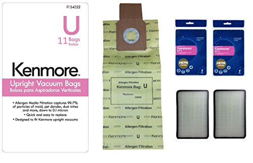 Kenmore Type U Premium Allergen Filtration Upright Vacuum Cleaner Bags 50690 and 2 Kenmore EF-1 (86889) Exhaust HEPA Filter Bundle Kit, 11 Pcs (Kenmore Hepa Vacuum Bags 50690 compare prices)