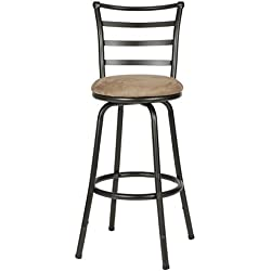 Roundhill Furniture Round Seat Bar/Counter Height Adjustable Metal Bar Stool