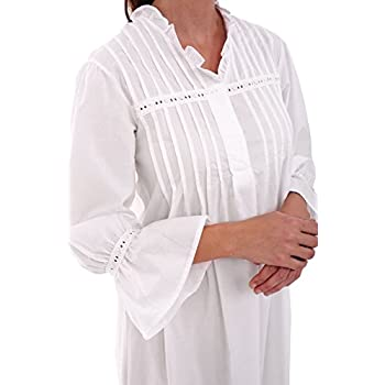 Del Rossa Women's Romeo and Juliet Cotton Nightgown, Bell Sleeve Victorian Sleepwear