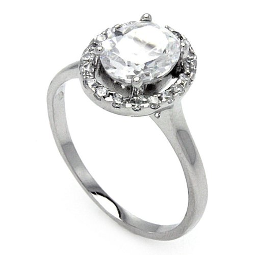 Rhodium Plated Sterling Silver Oval Cut Center Cubic Zirconia Halo Engagement Ring Band (Sizes 5 to 9) - Size 8