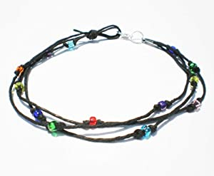 Black Hemp Three String Multicolor Glass Beaded Anklet - Handmade